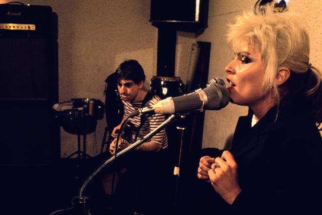 deborah harry and chris stein during new york studio rehersals for the third blondie album