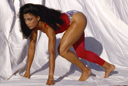 Photograph of Florence Griffith Joyner by celebrity portrait photographer Steve Landis shot originally for Riva magazine.
